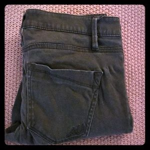 Express olive green skinny jeans